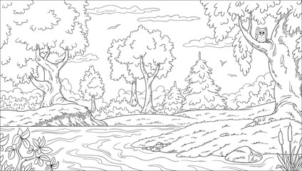 Wall Mural - Coloring book landscape. Hand draw vector illustration with separate layers.