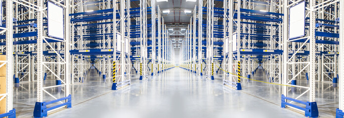 Huge distribution warehouse with high empty shelves.