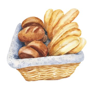 Hand drawn watercolor bread in a basket isolated on white background. Food bakery illustration.