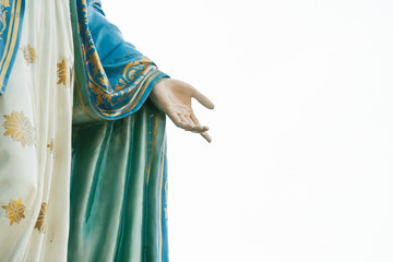 Our lady's hand, The Blessed Virgin Mary hand focused on white background.