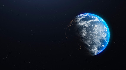 Earth planet with clouds in space. 3d illustration background with place for text