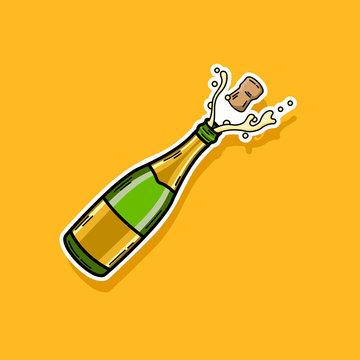 Vector Illustration of Champagne Bottle Icon