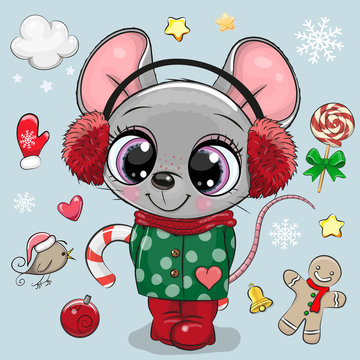 Cartoon mouse girl in a coat and fur headphones