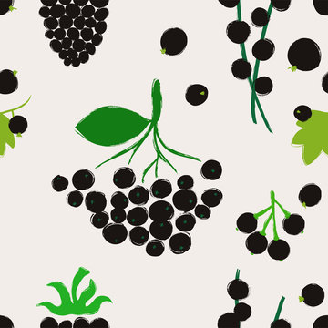 Seamless Pattern With Black Berries.
