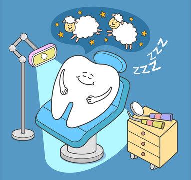 General Anesthesia. Cartoon tooth sleep in dental chair.
