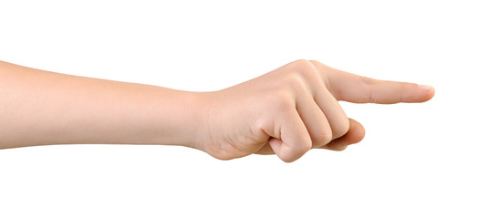 Child's hand pointing to something by forefinger, isolated on white background. Gesture of choice. Side view.