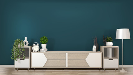 Mock up frame on wooden Cabinets TV in a dark green room and decoration.3D rendering