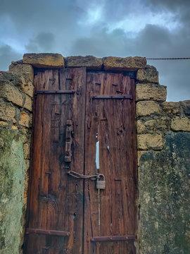 old door in wall