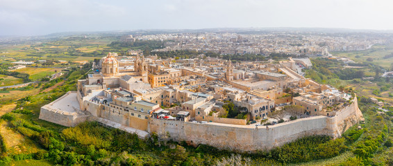 Obraz Panorama of the town of Mdina fortress aerial top view in Malta. - fototapety do salonu