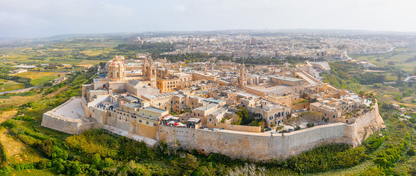 Panorama of the town of Mdina fortress aerial top view in Malta.