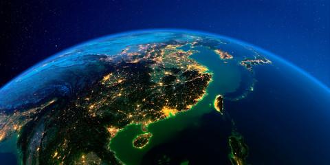 Detailed Earth at night. Eastern China and Taiwan