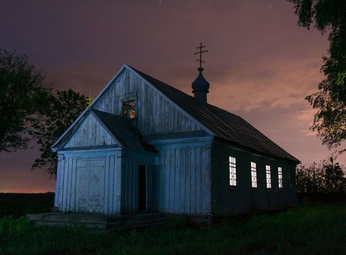 Old wooden church at the night