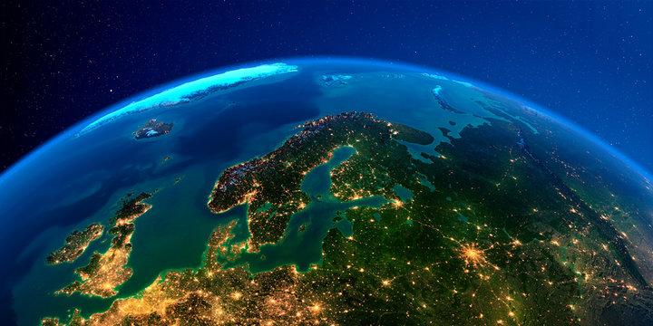 Detailed Earth at night. Europe. Scandinavia