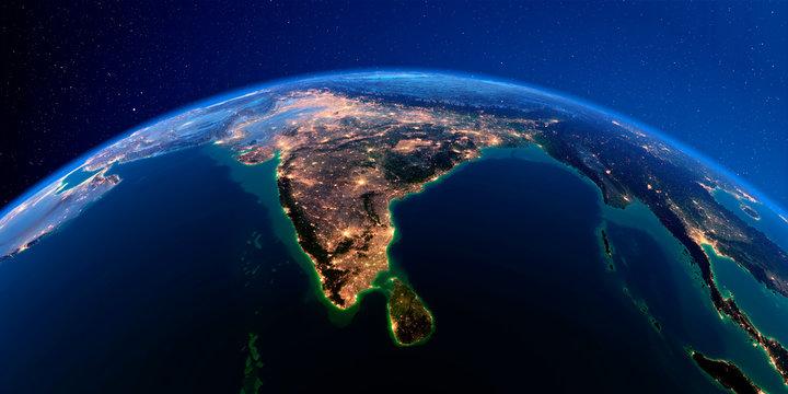 Detailed Earth at night. India and Sri Lanka