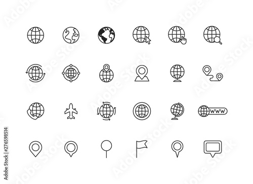 Wall mural Set of 24 Globe and earth planet web icons in line style. Navigational Equipment, Planet Earth, Airplane, Map. Vector illustration.