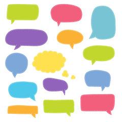 Wall Mural - Set of speech bubbles. Blank retro empty comic bubbles. Stickers. Dialog balloons. Vector illustration.