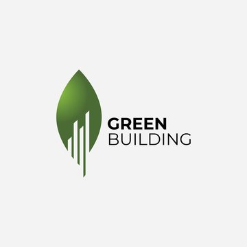 Building with green leaf symbol logo design.Green city illustration .Vector