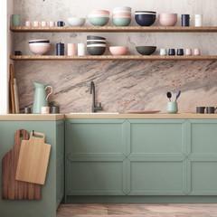 mockup kitchen interior in loft style. 3d render  3d visualization