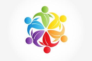 Logo teamwork ecology healthy nature people