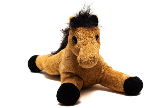 Brown plush toy horse, isolated on white background