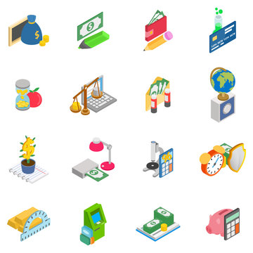 Monetary training icons set. Isometric set of 16 monetary training vector icons for web isolated on white background