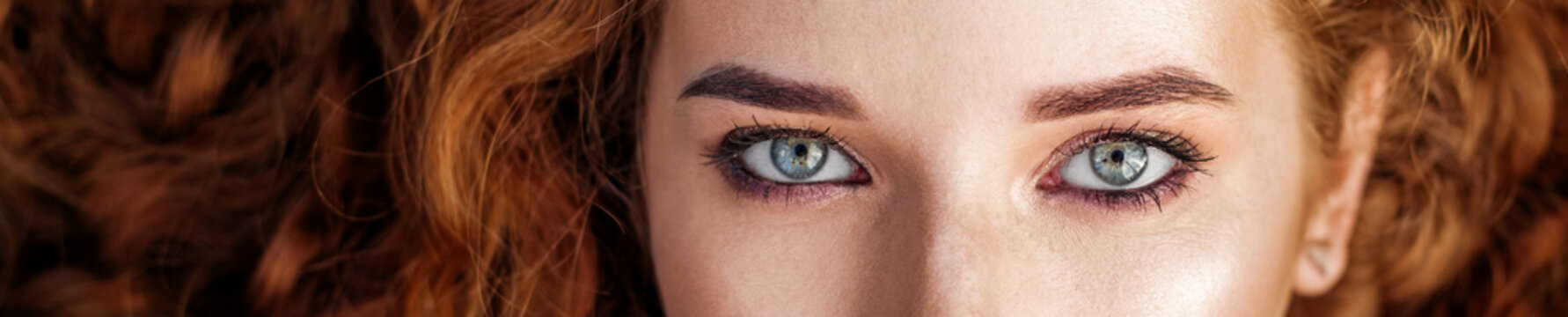 Women's eyes. Banner for the site. The concept of fashion, beauty, cosmetics and care