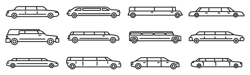 Wedding limousine icons set. Outline set of wedding limousine vector icons for web design isolated on white background