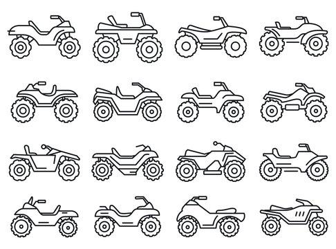 Sport quad bike icons set. Outline set of sport quad bike vector icons for web design isolated on white background