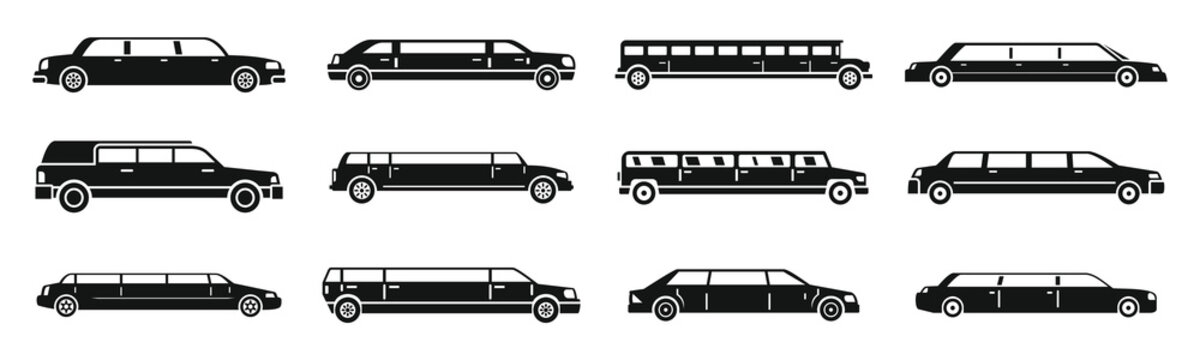 Modern limousine icons set. Simple set of modern limousine vector icons for web design on white background