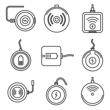 Wireless charging icons set. Outline set of wireless charging vector icons for web design isolated on white background