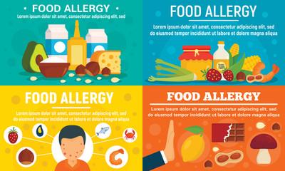 Food allergy banner set. Flat illustration of food allergy vector banner set for web design