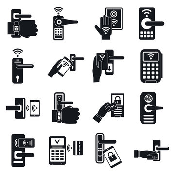 Wireless door lock icons set. Simple set of wireless door lock vector icons for web design on white background