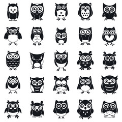 Foto op Aluminium Uilen cartoon Fun owl icons set. Simple set of fun owl vector icons for web design on white background