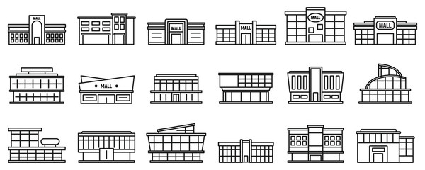 Mall centre icons set. Outline set of mall centre vector icons for web design isolated on white background