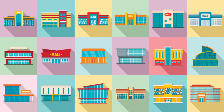 Mall icons set. Flat set of mall vector icons for web design