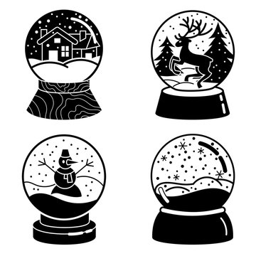 Snowglobe icons set. Simple set of snowglobe vector icons for web design on white background