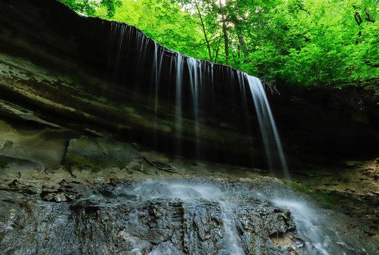 Water flowing of the limestone edge at Acres Kokiwanee Preserve Kokiwanee Falls