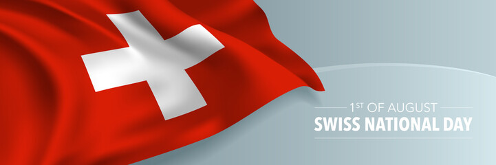 Swiss happy national day vector banner, greeting card