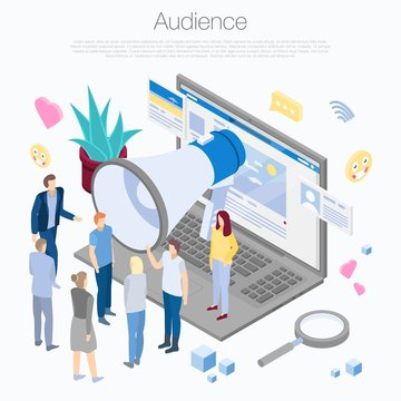 Audience concept background. Isometric illustration of audience vector concept background for web design