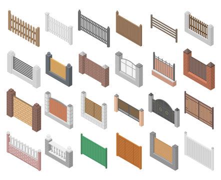 Fence icons set. Isometric set of fence vector icons for web design isolated on white background