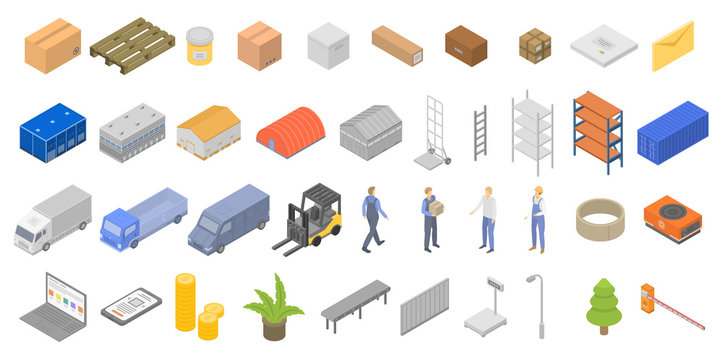 Warehouse icons set. Isometric set of warehouse vector icons for web design isolated on white background