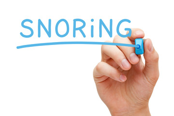 Word Snoring Handwritten With Blue Marker