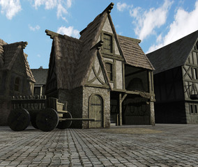 Fotomurales - Fantasy illustration of a street Scene set in a European town during the Middle Ages or Medieval period, 3d digitally rendered illustration