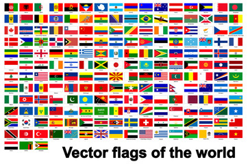 flags of the world Isolate On White Background,Vector Illustration EPS.10