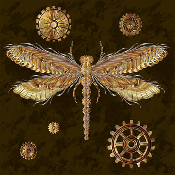 Beautiful background with Dragonfly in the style of steampunk. Vector illustration