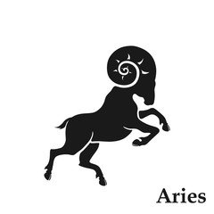Aries zodiac sign astrological symbol. horoscope icon in simple style