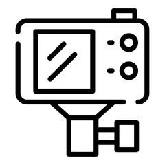 Action camera with mount icon. Outline action camera with mount vector icon for web design isolated on white background