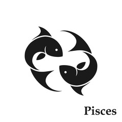 Pisces zodiac sign horoscope symbol. astrological icon. isolated fishes image in black and white style