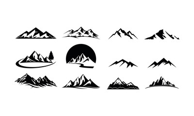 Mountain set template vector logo