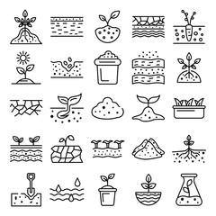 Fototapeta Soil ground icons set. Outline set of soil ground vector icons for web design isolated on white background obraz